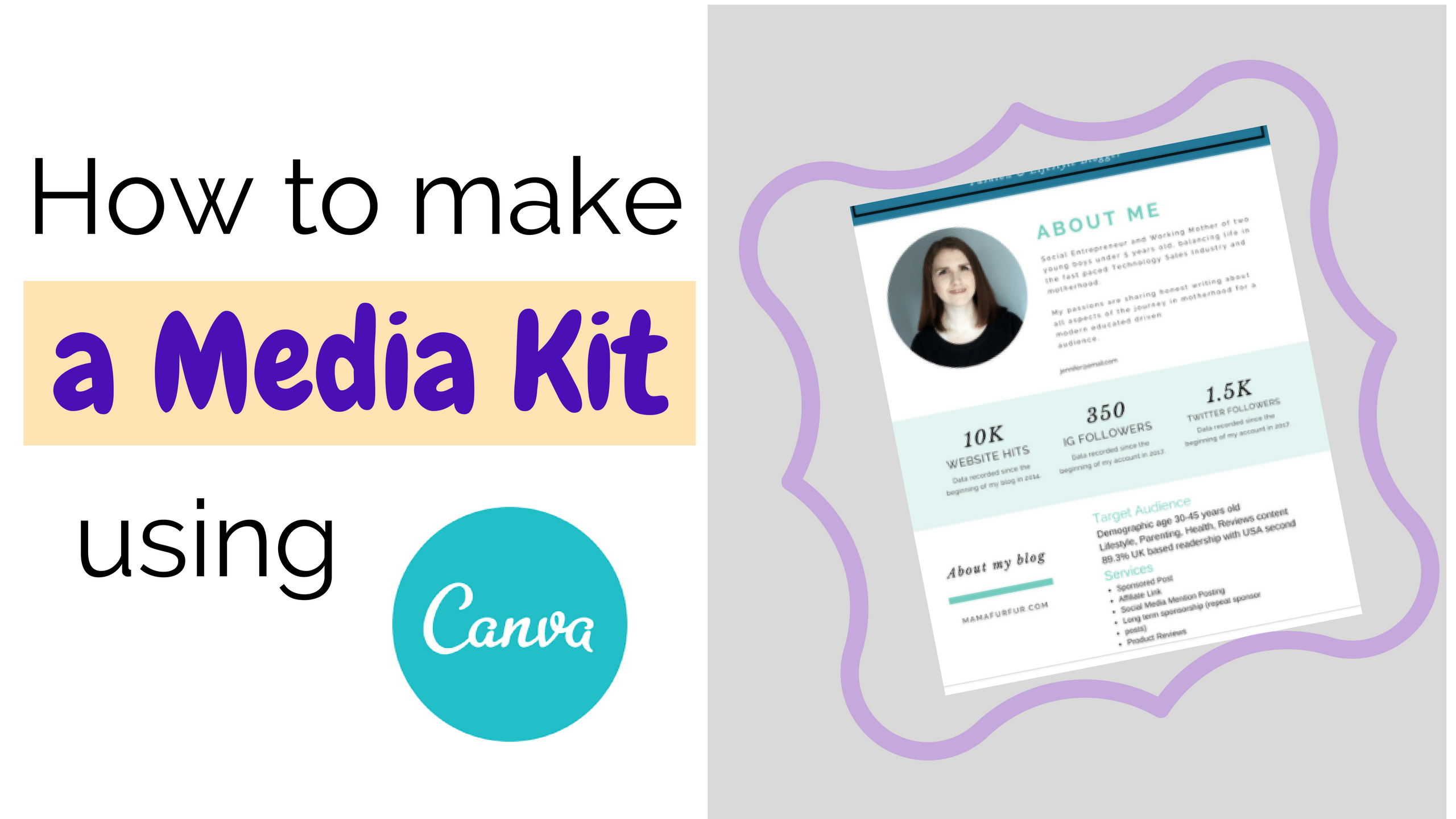 How to make a Media Kit using Canva for Blogs or Website ¦ Create a Media Kit in Canva