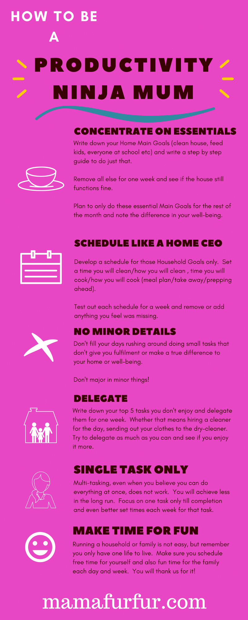 how to be a productivity ninja mum infographic #mealplanning #householdtips #householdhacks #mumhacks #momhacks