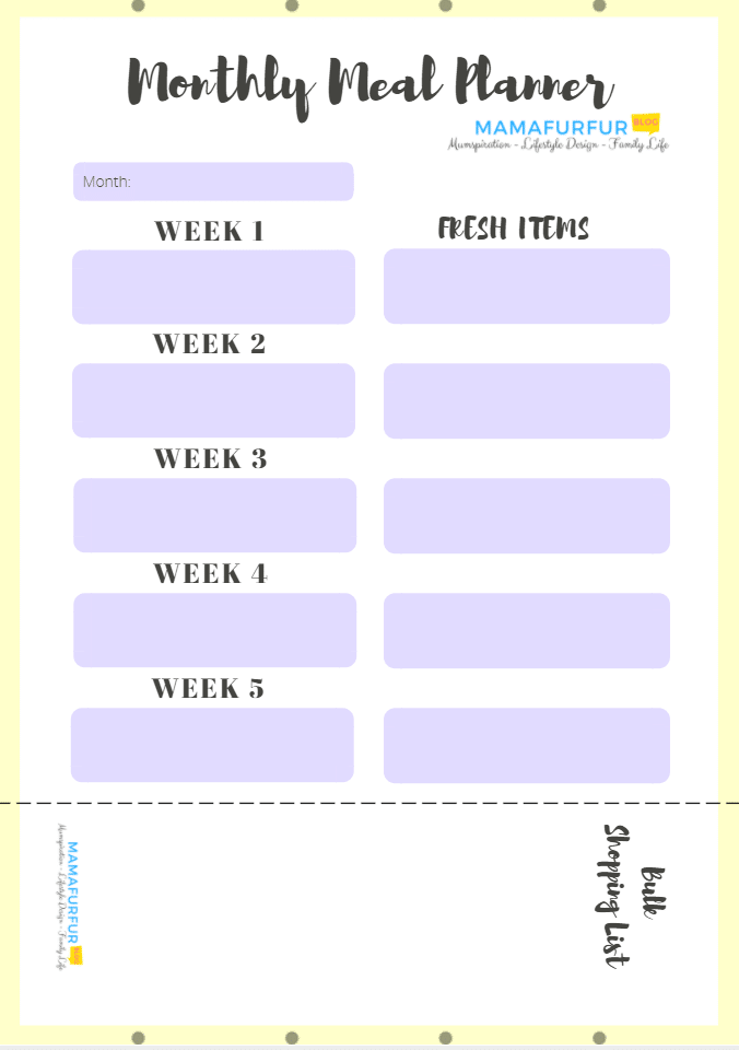 Monthly Meal plan outline #budgeting #mealplanning #mealplan #printable