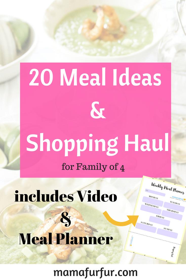 20 Meal Ideas Meal Planner and shopping haul #familybudget #shoppinghaul #mealplan #mealprep
