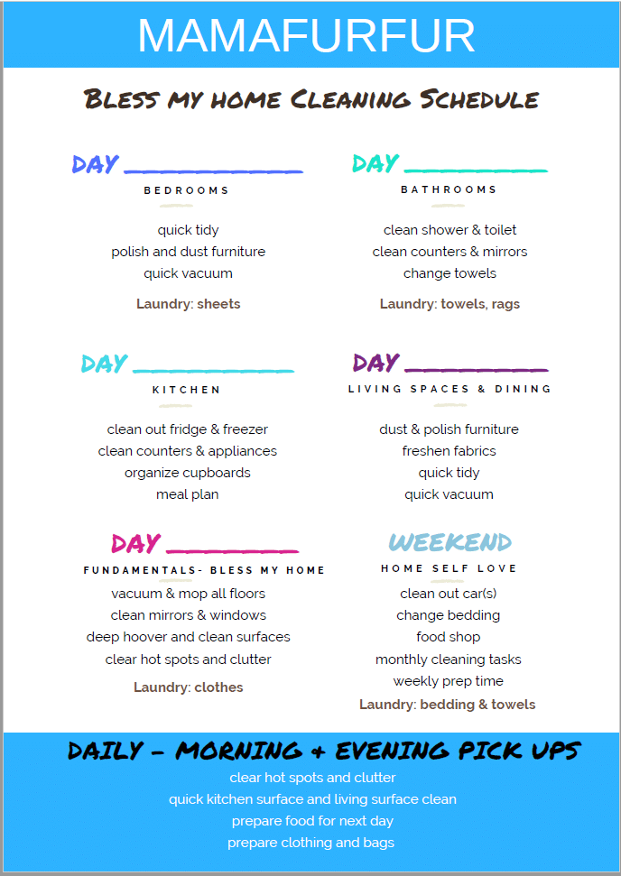 SIMPLE HOUSEHOLD CLEANING SCHEDULE - 15 minutes a day MAMAFURFUR #cleaning