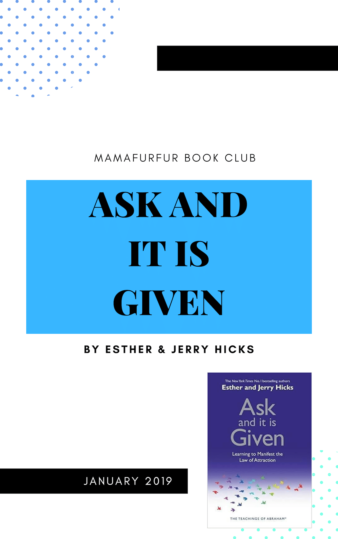 January 2019 Book Club Selection – Ask and it is Given by Esther and Jerry Hicks